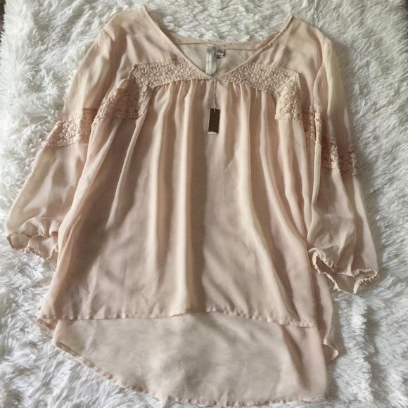 1dd19c88d73 NWT Lauren Conrad Blush Pink Nude Lace Blouse